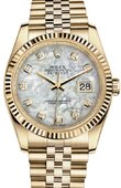 Rolex Datejust 116238-White MOP Diamonds 36mm Yellow Gold