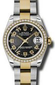 Rolex Datejust 178383 bkcao 31mm Steel and Yellow Gold