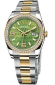 Rolex Datejust 116243 Green Waves Diamonds Oyster 36mm Steel and Yellow Gold