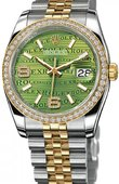 Rolex Datejust 116243 Green Waves Diamonds Jubilee 36mm Steel and Yellow Gold