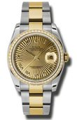 Rolex Datejust 116243 chsbro 36mm Steel and Yellow Gold