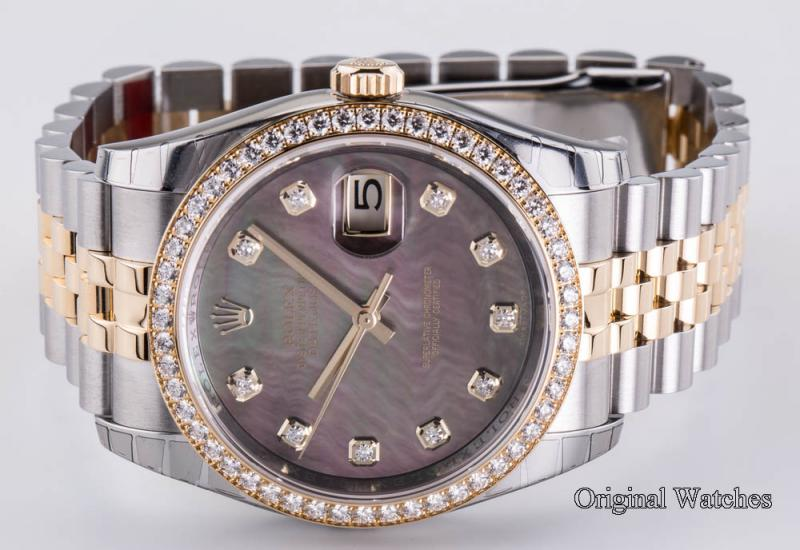 116243 Black MOPD Rolex 36mm Steel and Yellow Gold Datejust