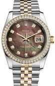 Rolex Datejust 116243 Black MOPD 36mm Steel and Yellow Gold