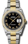 Rolex Datejust 116243 bkro 36mm Steel and Yellow Gold