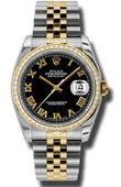 Rolex Datejust 116243 bkrj 36mm Steel and Yellow Gold
