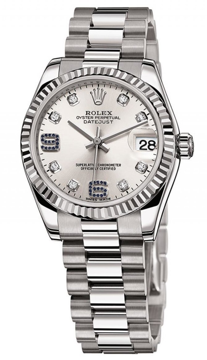 Rolex 178279 Silver Diamond and Sapphires Datejust 31mm White Gold - фото 3