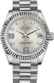 Rolex Datejust 178279 Silver Diamond and Sapphires 31mm White Gold