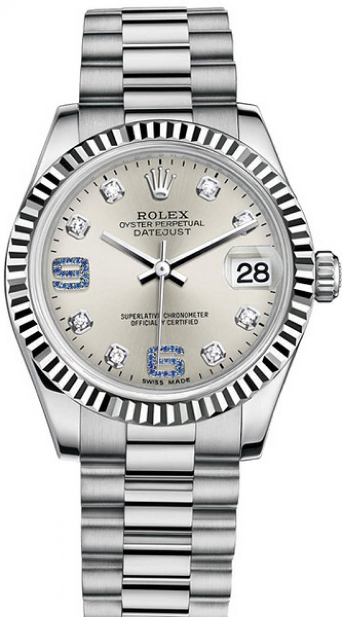 Rolex 178279 Silver Diamond and Sapphires Datejust 31mm White Gold - фото 1