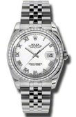 Rolex Datejust 116244-wrj 36mm Steel and White Gold