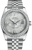 Rolex Datejust 116244 Silver Floral Jubilee 36mm Steel and White Gold
