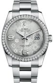 Rolex Datejust 116244 Silver Floral 36mm Steel and White Gold