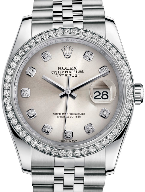 116244-sdj Rolex 36mm Steel and White Gold Datejust