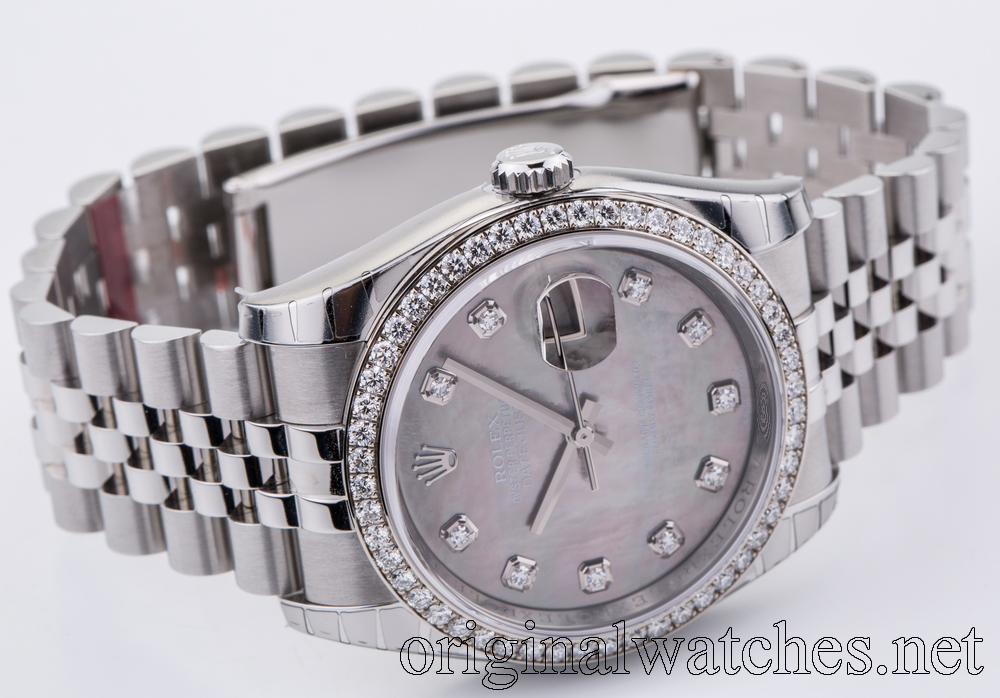 116244-dkmdj Rolex 36mm Steel and White Gold Datejust