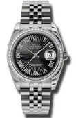 Rolex Datejust 116244-bksbrj 36mm Steel and White Gold