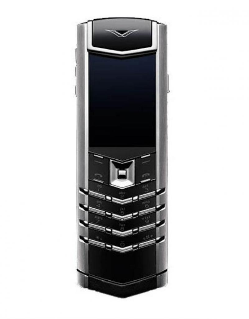 002W4B1 Vertu Brushed Stainless Steel Black Laether Signature