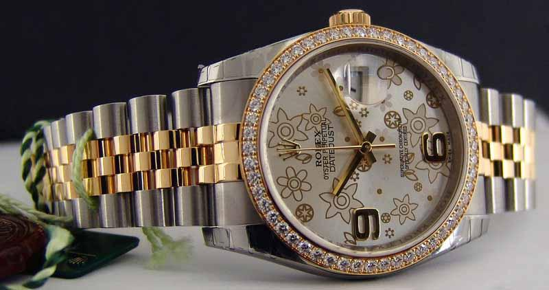 116243 silver floral dial jublilee Rolex 36mm -  YG Steel Datejust Ladies