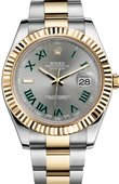 Rolex Datejust 116333 grey dial green Roman numerals II 41mm YG Steel