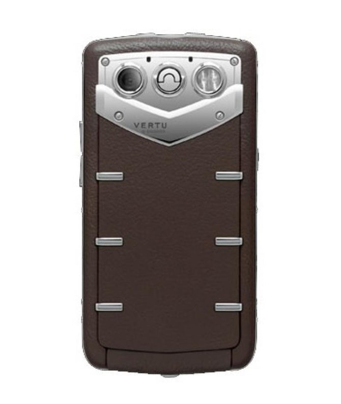 Vertu Polished Stainless Steel Sapphire Keys Constellation Quest Brown Leather - фото 2