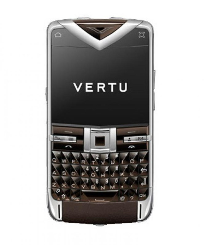 Vertu Polished Stainless Steel Sapphire Keys Constellation Quest Brown Leather - фото 1