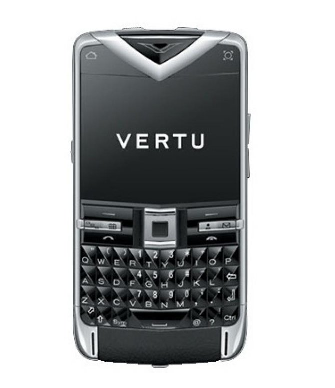 Vertu Polished Stainless Steel Sapphire Keys Black Leath Constellation Quest Quickoffice - фото 1