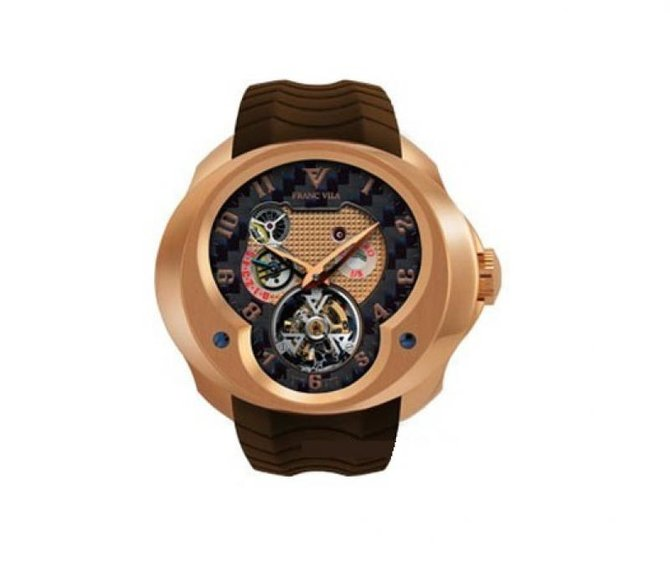 Franc Vila FVa №1 Caoutchouc Brown Strap Montre Contemporaine Grande Complication Tourbillon Planetaire Red Gold