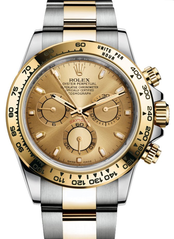 116523 champagne dial Rolex Steel and Gold Daytona