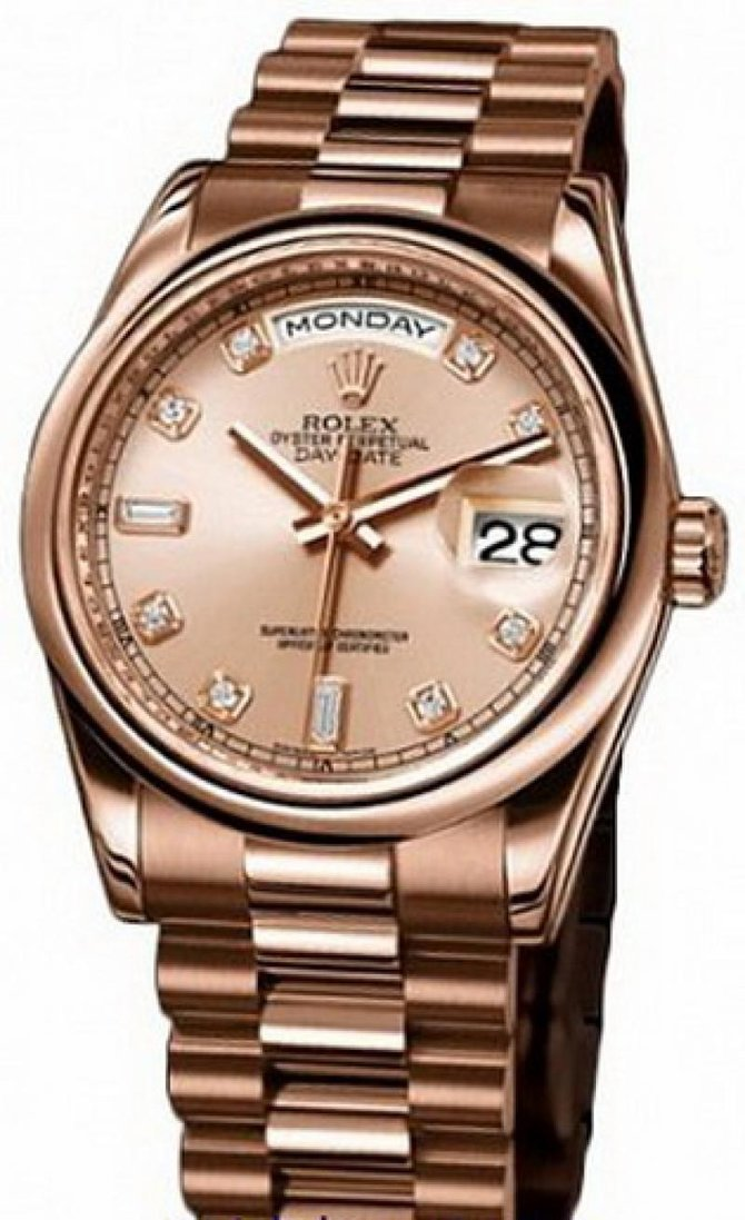 Rolex 118205 pink diamonds Day-Date Everose Gold
