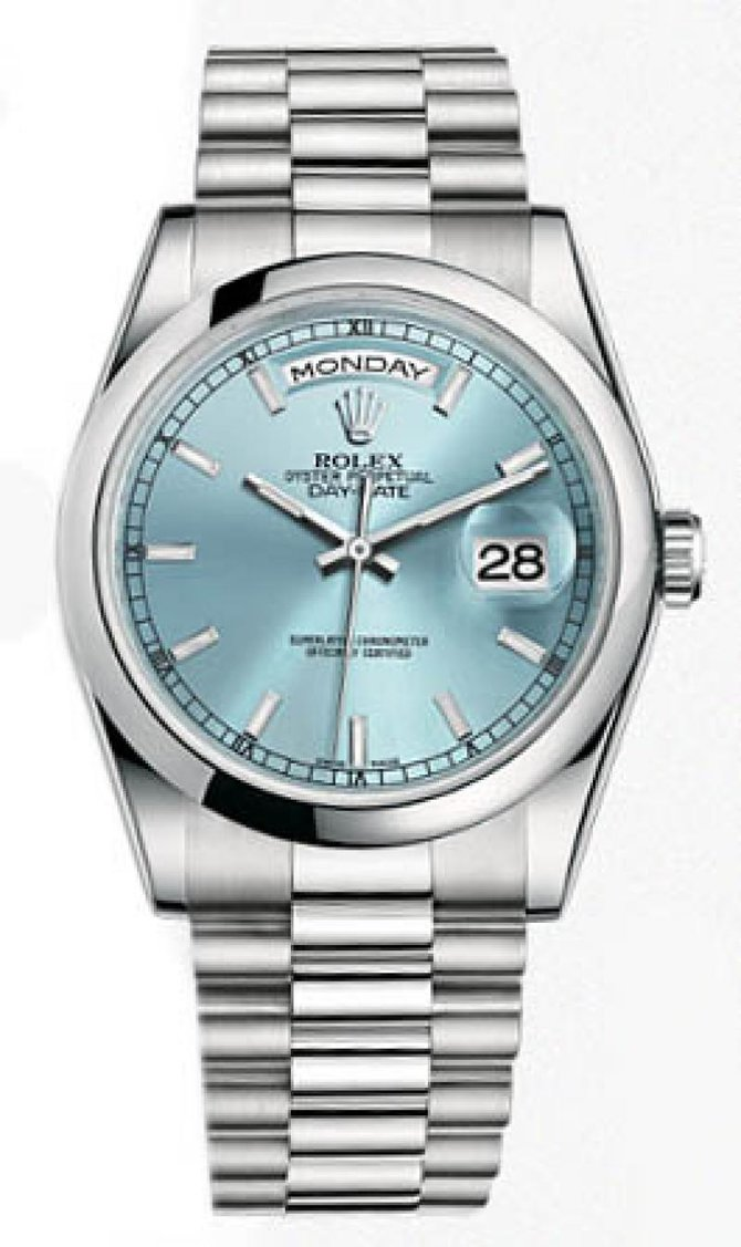Rolex 118206 Ice Blue Day-Date Platinum - фото 2