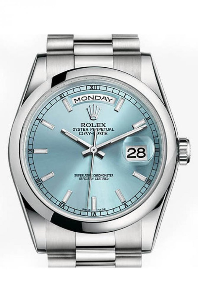 Rolex 118206 Ice Blue Day-Date Platinum - фото 1