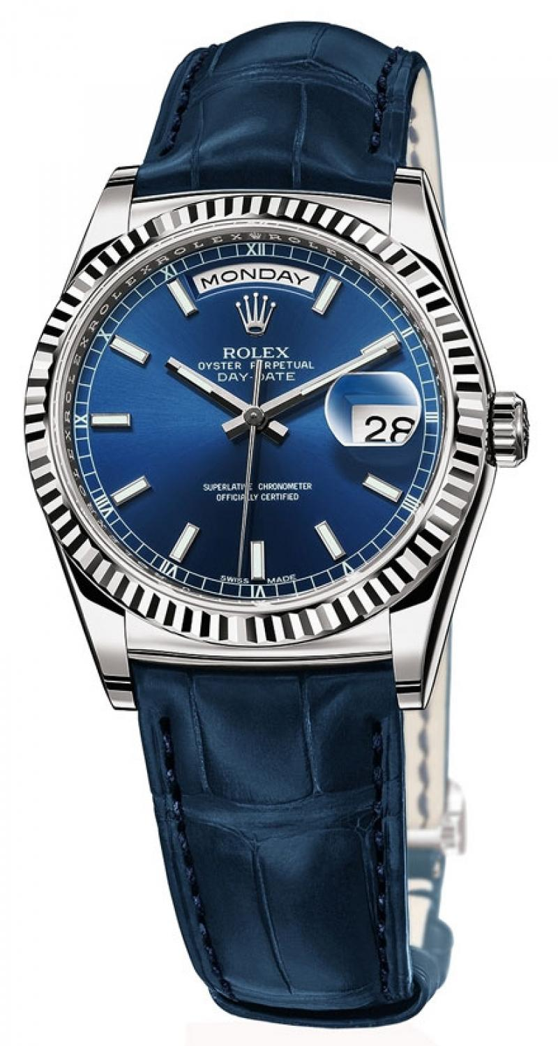 118139 blue Rolex White Gold Day-Date