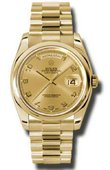 Rolex Day-Date 118208 chap Yellow Gold