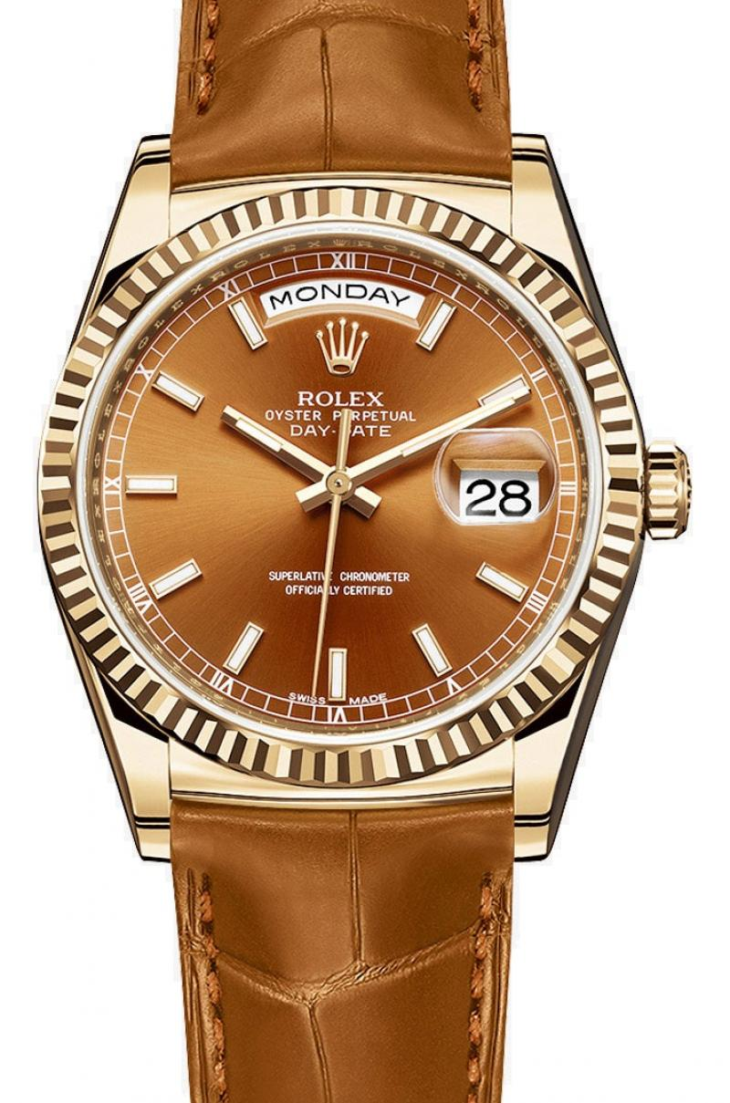 118138 brown Rolex Yellow Gold Day-Date