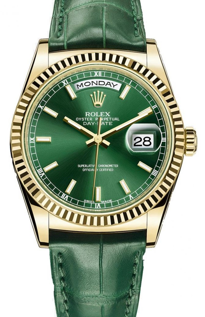 118138-green Rolex Yellow Gold Day-Date