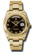 Rolex Day-Date 118208 bkao Yellow Gold
