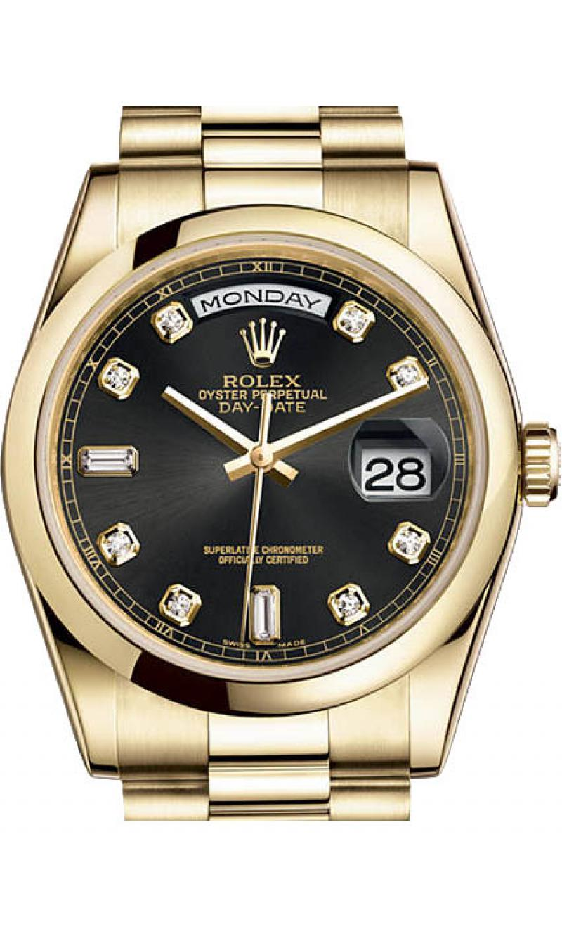 118208 black diamonds Rolex Yellow Gold Day-Date
