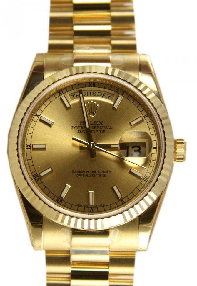 Rolex 118238 champagne Day-Date Yellow Gold - фото 1