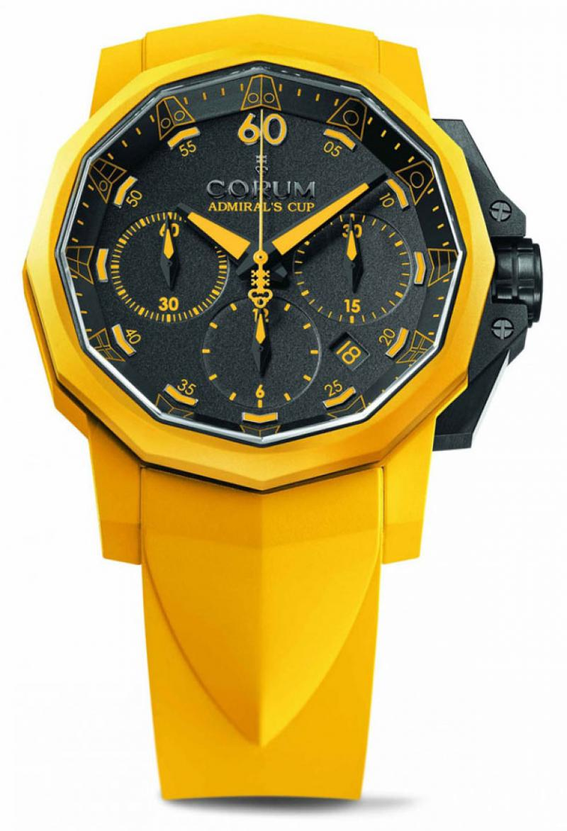 Challenger 44 Chrono Rubber Yellow Corum Chrono Rubber 44 Admirals Cup Challenger