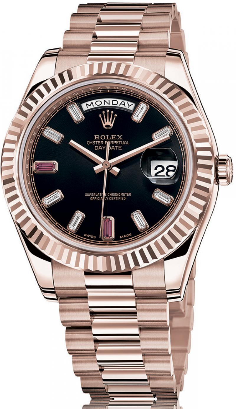 218235 black diamonds Rolex Everose Gold Day-Date