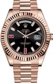 Rolex Day-Date 218235 black diamonds Everose Gold