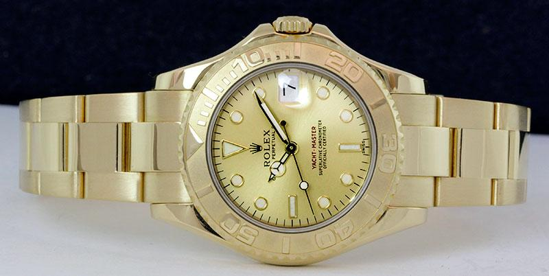 168628 Champaigne Rolex  35mm Yellow Gold Yacht Master II