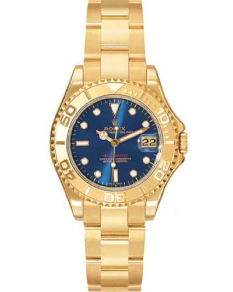 168628 Blue Rolex Yacht-Master 35mm Yellow Gold Yacht Master II