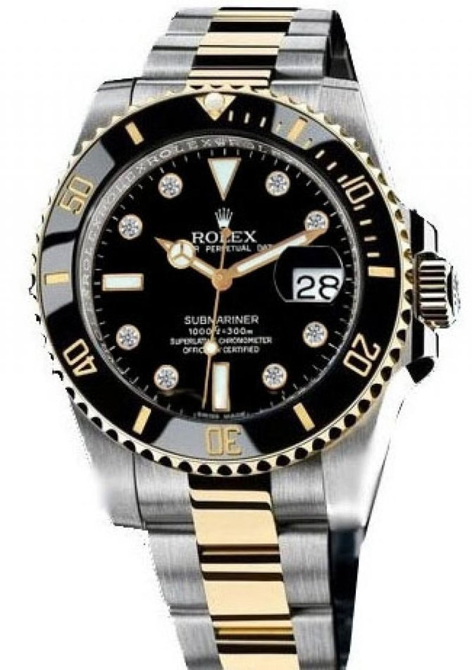 116613 black dial 8 diamond Rolex Date Steel and Yellow Gold Ceramic Submariner