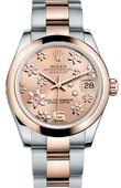 Rolex Datejust Ladies 178241 pink floral Steel and Everose Gold