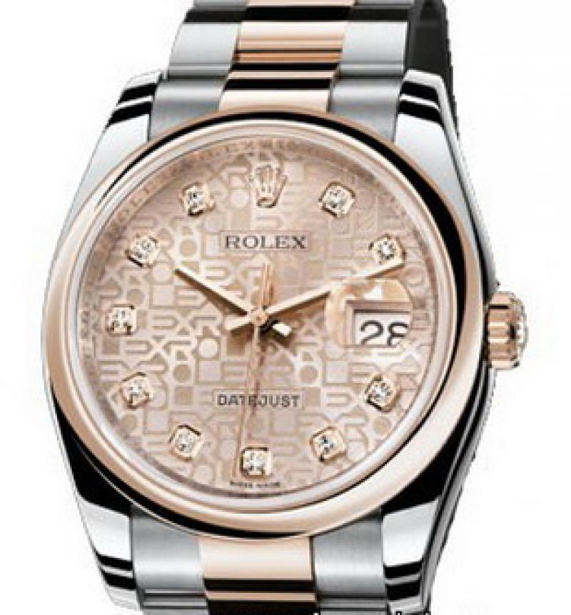 116201 pink diamonds Rolex Steel and Everose Gold Datejust