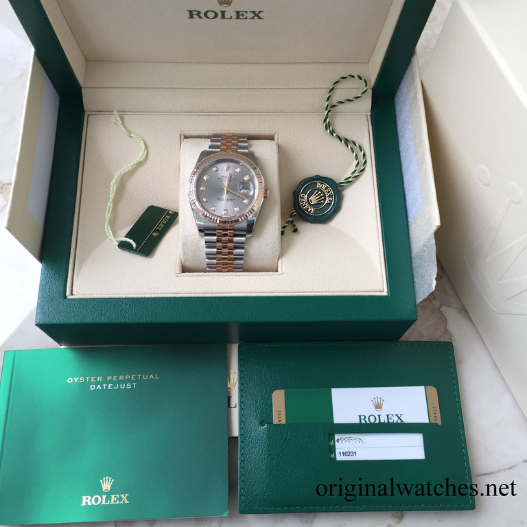 116231 silver Rolex Steel and Everose Gold Datejust