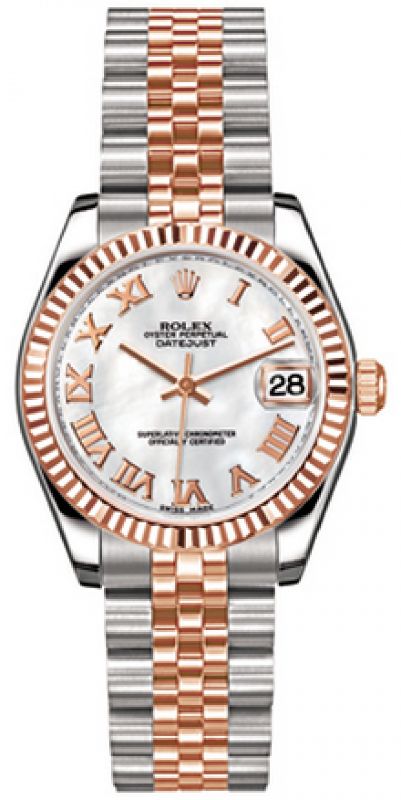 178271 whitemop Rolex Steel and Everose Gold Datejust Ladies