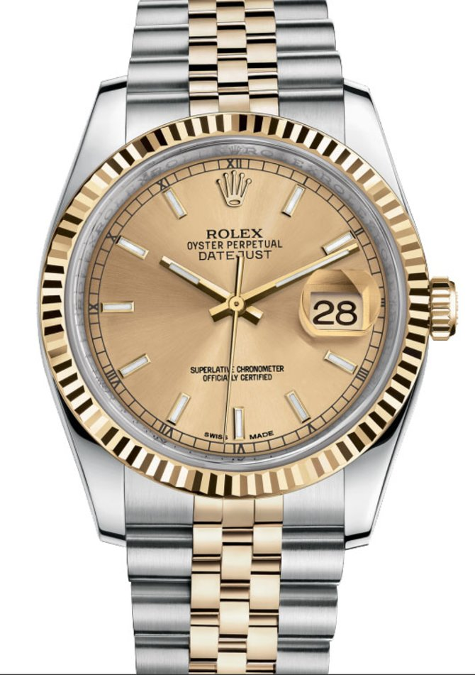 Rolex 116233 champagne Datejust Steel and Yellow Gold