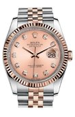 Rolex Datejust 116231 Pink Diamond Dial Jubilee 36 Steel And Pink Gold - Fluted Bezel