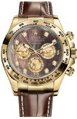Rolex Daytona 116518 dark Yellow Gold Leather Strap Dark Pearl Dial Diamond