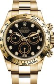Rolex Daytona 116528 black Yellow Gold Diamond
